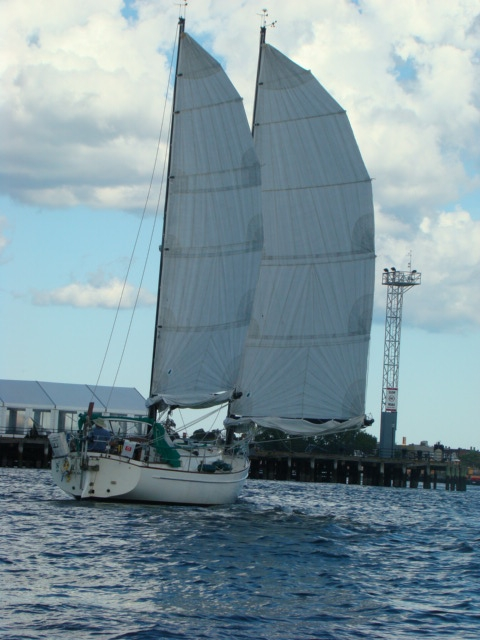 Freedom 33 under sail Boston Harbor Taken By Lance Ryley